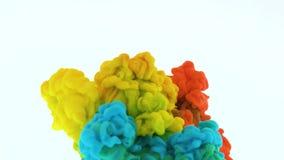 从混合的底部的五颜六色的彩虹油漆下落在水中 E 在白色隔绝的柔滑的墨水云彩 股票录像