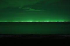 从渔船的光在晚上。 库存图片