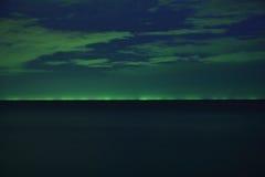 从渔船的光在晚上 图库摄影