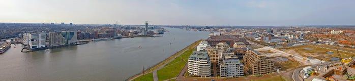 从港口的空中全景在阿姆斯特丹荷兰 库存图片