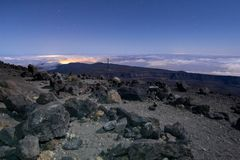 从火山皮库岛del泰德峰的夜视图在特内里费岛 免版税库存照片