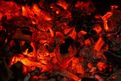 从火的煤炭的黑赤热 库存照片
