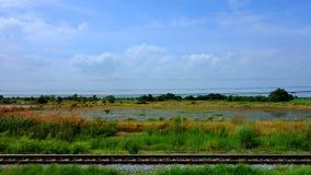 从火车的乡下风景 库存图片