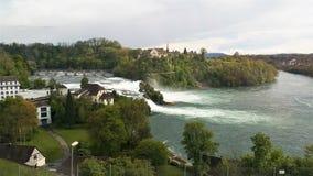 从火车的莱茵瀑布视图 免版税图库摄影