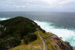 从灯塔的全景 海角拜伦 澳洲调遣葡萄猎人新的南谷威尔士 澳洲 免版税库存图片