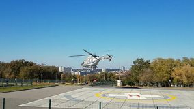 从灾害医学直升机的特别区域的起飞 影视素材