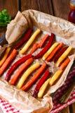 从烤箱的五颜六色的菜油炸物 库存图片