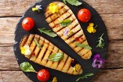从烤茄子和蕃茄的夏天开胃菜用草本 免版税库存照片