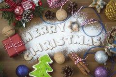 从燕麦曲奇饼的字法文本圣诞快乐 库存图片