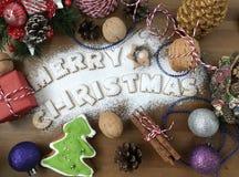 从燕麦曲奇饼的字法文本圣诞快乐 图库摄影