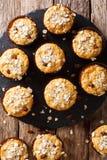 从燕麦的饮食松饼剥落用葡萄干和蜂蜜特写镜头 库存照片