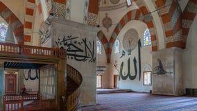从爱迪尔内老清真寺的内部细节 Eski清真寺是15世纪初无背长椅清真寺 库存照片