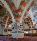 从爱迪尔内老清真寺的内部细节 Eski清真寺是15世纪初无背长椅清真寺 免版税库存图片