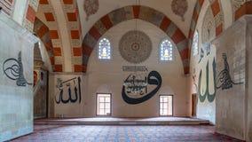 从爱迪尔内老清真寺的内部细节 Eski清真寺是15世纪初无背长椅清真寺 免版税图库摄影