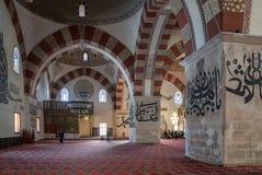 从爱迪尔内老清真寺的内部细节 Eski清真寺是15世纪初无背长椅清真寺 库存图片