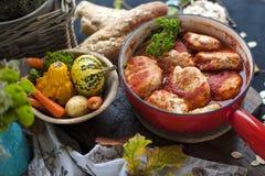 从牛肉和猪肉的鲜美肉丸在西红柿酱,秋天膳食在家 复制空间 库存图片