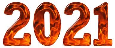 从玻璃的数字2021年与火焰状fi的一个抽象样式 免版税图库摄影