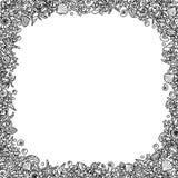 从珊瑚、海壳和螃蟹的概述图象的黑白方形的无缝的传染媒介框架 图库摄影