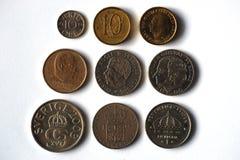 从瑞典的九枚硬币 库存图片
