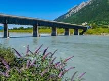 从瑞士的老莱茵河桥梁向列支敦士登,瓦杜兹, Liech 图库摄影