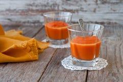 从甜南瓜,可口点心的纯汁浓汤 自创南瓜pu 免版税库存照片