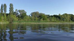 从登上帆船的录影 伏尔加河,俄罗斯 沿岸的有绿色植被的运动或海岛 股票录像