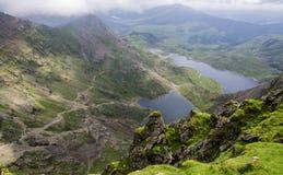 从登上斯诺登山威尔士的看法 库存图片