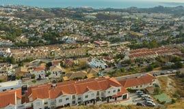 从登上被看见的太阳海岸Calamorro的顶端 免版税库存照片