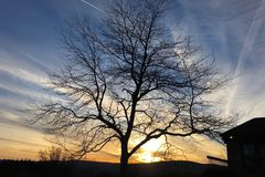 从登上Greylock的日落在马萨诸塞 免版税库存图片