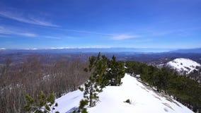 从登上Lovcen的冬天视图 股票录像