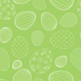 从白色复活节彩蛋的无缝的样式在卡片横幅设计的绿色背景装饰欢乐背景  向量例证