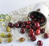 从白色铁的疏散成熟红色莓果樱桃抢劫 库存图片