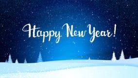 从白色雪花的新年快乐2019年在一个蓝色夜风景 假日生气蓬勃的冬天背景 向量例证