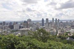 从皇家山Kondiaronk眺望楼的蒙特利尔全景  免版税库存图片