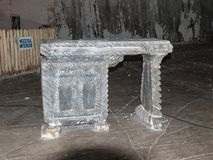 从盐立场的书桌裁减在盐矿在斯勒尼克-盐沼Sla 免版税库存图片