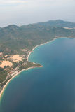 从直升机的海岸线 图库摄影