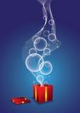 从礼物盒的星形和泡影 库存图片