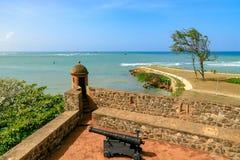 从福特莱萨圣费利佩的看法在海,普拉塔港,Domin 库存图片