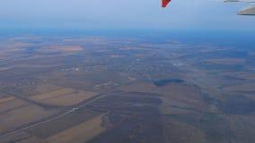 从离去的飞机的鸟瞰图 影视素材