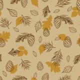 从秋叶和锥体的无缝的样式 织品的背景,布料设计,盖子,制造业,墙纸,印刷品,礼物 免版税库存照片