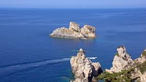 从科孚岛的爱奥尼亚海在希腊 免版税库存图片
