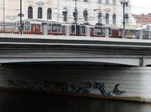 从科鲁Napoca的看法有在索姆斯的伟大的桥梁的 免版税库存照片