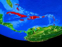 从空间的加勒比地球上 库存例证