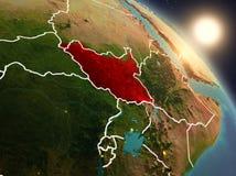 从空间的南苏丹在日出期间 库存照片