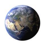 从空间的地球地球在显示地形和云彩 高分辨率行星地球视图 E ?? 向量例证
