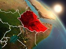 从空间的埃塞俄比亚在日出期间 皇族释放例证