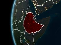 从空间的埃塞俄比亚在晚上 向量例证
