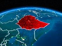 从空间的埃塞俄比亚在晚上 库存例证