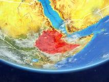 从空间的埃塞俄比亚地球上 皇族释放例证