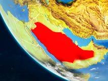 从空间的沙特阿拉伯地球上 向量例证